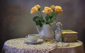 Wallpaper tea, books, roses, bouquet, Cup, figurine, still life