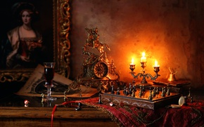 Picture wine, watch, picture, candles, chess