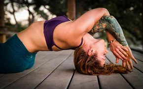 Picture woman, tattoo, floor, yoga