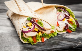 Picture bow, meat, vegetables, food, pita, pellet, mexican, tortillla