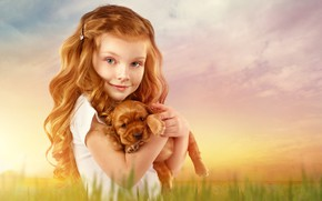 Picture background, hair, child, girl, puppy, red