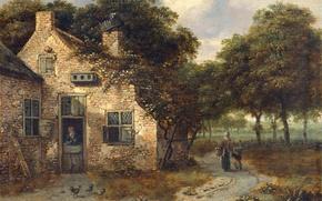 Picture landscape, tree, oil, picture, Farm House, Ian Vanants