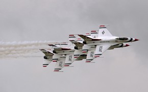 Picture the sky, flight, F-16 Fighting Falcon, Multi-stacked Thunderbirds