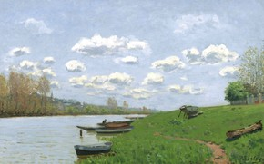 Picture landscape, river, shore, picture, Alfred Sisley, Alfred Sisley, The Seine at Argenteuil