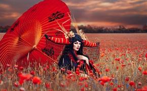 Picture field, girl, Maki, umbrella, outfit