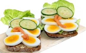 Picture eggs, Breakfast, bread, sandwich