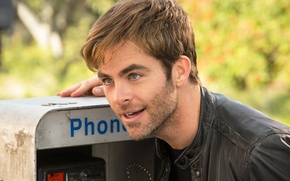 Picture face, jacket, actor, phone, male, Chris Pine, Chris Pine