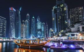 Picture city, lights, Dubai, sea, ocean, night, evening, buildings, architecture, boat, skyscrapers, bay, cityscape, UAE, United …