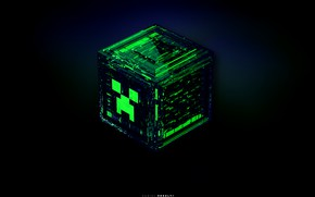 Wallpaper the explosion, blue, green, grey, black, the game, cube, game, minecraft, emerald, minecraft, creeper, fractures