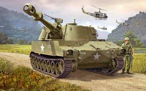 Wallpaper SAU, self-propelled howitzer, M109, American self-propelled artillery, 155mm Self-Propelled Howitzer
