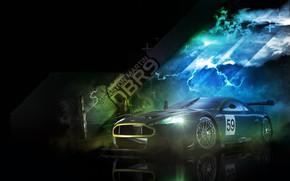 Picture machine, background, Aston Martin, black background
