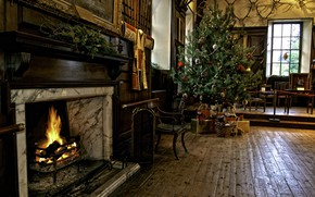 Picture heat, room, holiday, tree, Christmas, New year, fireplace, cozy
