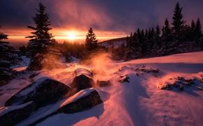 Picture snow, stones, the wind, dawn, Bulgaria, Sunrise