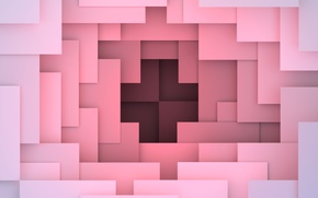 Wallpaper 3D rendering, background, colorful, pink, design, geometry, abstract, geometric shapes