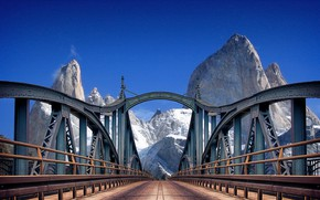 Picture road, mountains, bridge
