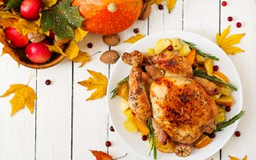 Picture autumn, leaves, apples, fruit, baked chicken