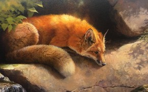 Picture lies, Fox, art, red, nature, moss, leaves, figure, resting, stream, Fox, stones