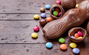 Picture chocolate, eggs, colorful, rabbit, candy, Easter, wood, chocolate, spring, Easter, eggs, bunny, candy, decoration, Happy