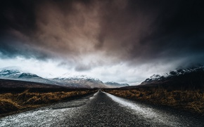 Picture road, mountains, clouds
