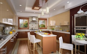 Picture flowers, design, the room, utensils, MAIN KITCHEN AREA