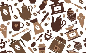 Picture background, vector, coffee, texture, background, coffee, seamless pattern