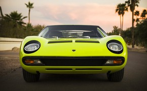 Picture Auto, Lamborghini, Retro, Green, Machine, Logo, Eyelashes, Lights, Car, Supercar, 1967, Miura, Supercar, The front, …