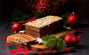 Picture light, balls, new year, chocolate, cake, nuts, Christmas, cakes, cakes