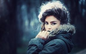 Picture look, girl, background, portrait, makeup, brunette, jacket, hairstyle, hood, fur, bokeh