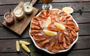 Picture lemon, sauce, shrimp, seafood