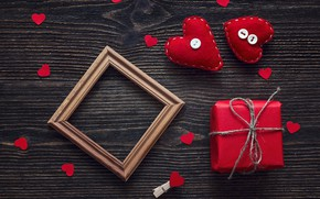 Picture love, gift, heart, hearts, red, love, heart, wood, romantic, Valentine's Day, gift, decoration