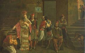 Picture tree, oil, picture, mythology, Joseph-Denis Dewar, The Last Defenders Of Mesolongi
