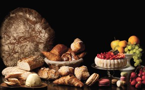 Picture Apple, orange, strawberry, bread, grapes, cake, fruit, cakes, croissant, macaroon