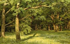 Wallpaper nature, landscape, Forest Glade, Ivan Shishkin, picture