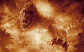 Wallpaper gorilla, film, strong, fire, kong, Kong: Skull Island, animal, fury, flame, movie, fang, spark, angry, ...