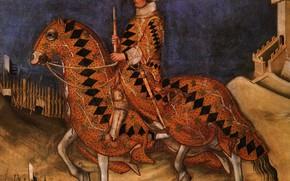Picture horse, rider, diamonds, Simone, Tartini, the middle ages, Soldier of fortune, Guidoriccio da Fogliano