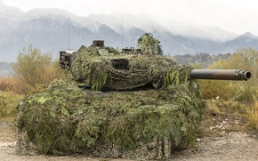 Wallpaper the barrel, tank, Leopard 2, disguise