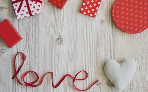 Picture holiday, gifts, hearts, Valentine's day, bows