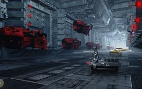 Picture transport, robot, hangar, equipment, Red Alert