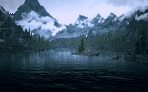 Picture mountains, lake, skyrim