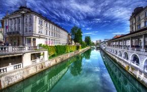 Picture the sky, reflection, HDR, channel, beautiful, Slovenia, Slovenia, Ljubljana