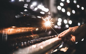 Wallpaper music, holiday, sparklers, piano