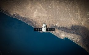Picture surface, Earth, Dragon, the view from the top, spaceship, transport, SpaceX, private, aerial view, Dragon …