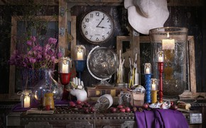 Picture flowers, watch, hat, chest, STILL LIFE