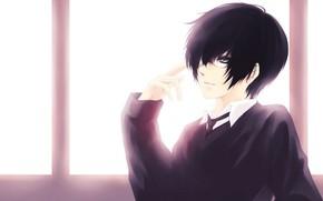 Picture anime, window, guy, Katekyo Hitman REBORN!, Hibari Kyoya, Hibari Kyoya