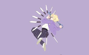 Picture guy, knives, purple background, Mob Psycho 100