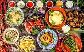 Picture mushrooms, sauce, salad, spices, meals, potatoes, cuts, asparagus