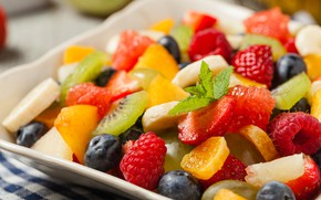Wallpaper mint, strawberry, fruit, raspberry, berries, blueberries, salad, fruit, citrus, kiwi