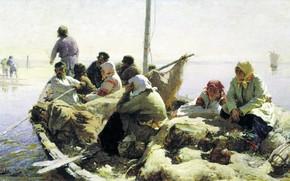 Picture oil, picture, canvas, On The River Oka, Abram Arkhipov