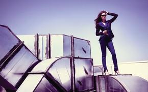 Picture the sky, pose, glasses, hairstyle, costume, shoes, Nina Dobrev, Nina Dobrev, jacket, 2012, photoshoot, pants, ...