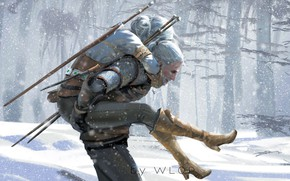 Picture Winter, Figure, The game, Snow, Sword, Art, Art, Winter, The Witcher, Snow, Geralt, Game, Witcher, ...